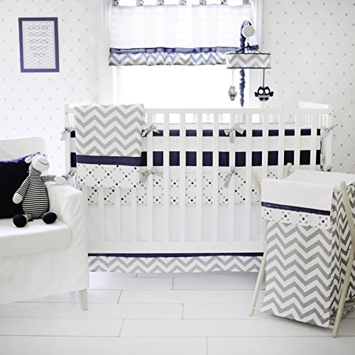 My Baby Sam Out of The Blue Crib Bumper, Navy/Gray