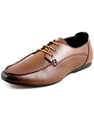 DeVEE Chris Brown Dotted Front Derby Style Tan Lace Up Formal Shoe