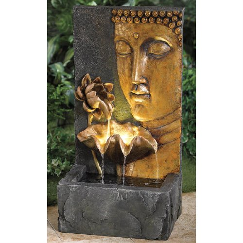 Brylanehome Hand-Painted Buddha Face Fountain