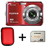 Fujifilm FinePix AX550 Red+ 8GB Memory Card and Case (16MP, 5x Optical Zoom) 2.7 inch LCD