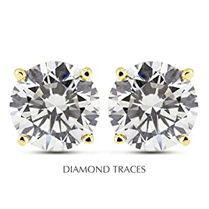 1.05 Carat Round Natural Diamond AGI Certified I-SI1 Very Good Cut 14k Yellow Gold 4-Prong Setting Basket Style Studs Earrings