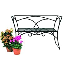 Garden Patio Black Wrought Iron Arbor Bench