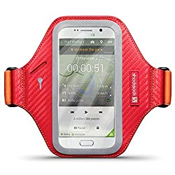Galaxy S6 Case, Shocksock [Reflective] [Red Orange] Samsung Galaxy S6 Armband Sports Gym Bike Cycle Jogging Armband with Adjustable Elastic - Red & Orange, to fit arm of 26cm/10.3 inches and above