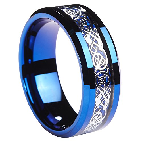 Queenwish 8MM Blue Tungsten Carbide Ring Silvering Celtic Dragon Blue Carbon Fibre Inlay Mens Wedding Band Size 10