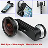 Bestlight Fish Eye Lens+Super Wide Angle Lens+Macro Lens 3-in-1 Kit for Apple iPhone 5