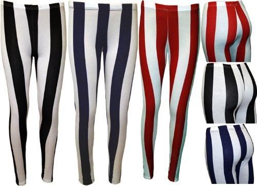 Ladies Stripe Stretch Leggings Womens Elasticated Full Length Ankle Pants Sizes 8 - 14
