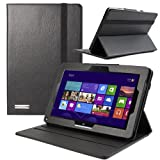 Evecase OhMyCase BLACK Leather Case with Stand for Acer Iconia W510 10.1-inch Window 8 Tablet