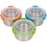 Steelware Snap Seal Leak-proof Stainless Steel Snack Size Lunch Box Containers for Adults and Kids (12 oz. each)