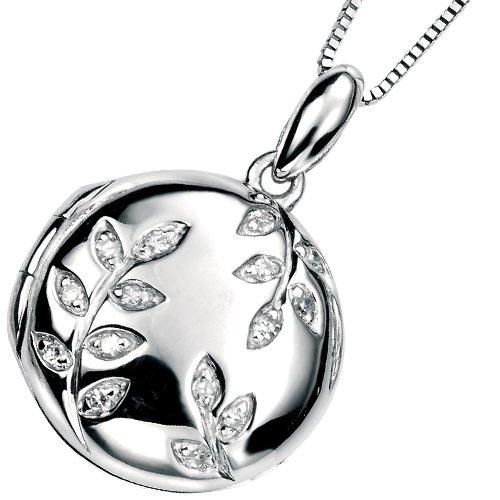 Elina H 9K White Gold Leaf Pave Locket