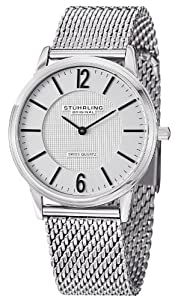 Stuhrling Original Classic Somerset Elite Men's Quartz Watch with Silver Dial Analogue Display and Silver Stainless Steel Bracelet 122.33112