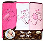 Wild Animal Hooded Bath Towel Set, 3 Pack, Girl, Frenchie Mini Couture