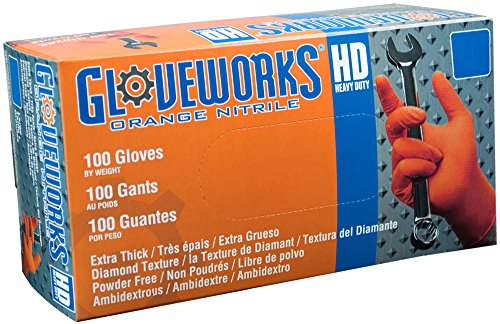 Ammex GWON Gloveworks Orange Nitrile Glove, Latex Free, Disposable, Powder Free