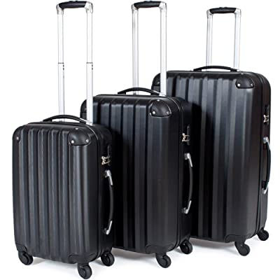 TecTake Suitcase Trolley Set of 3 Super Lightweight Rolling mix-hard shell Suitcases Travel bags luggage black from TecTake