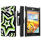 LG Venice LG730 Boost Mobile Black Case with Kickstand Beltclip Holster - Green Shocking Star By SkinGuardz