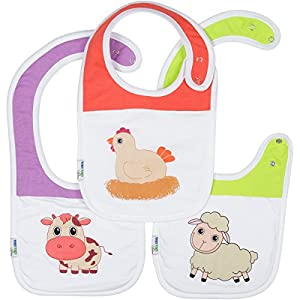 Adorable Cotton Baby Bibs Set - Includes 3 Highly Absorbent Cotton Bibs with Adjustable Double Snaps to Fit till Age 2 and Soft Polyester Fleece Backing - Keeps Baby Dry During Feeding & Drooling