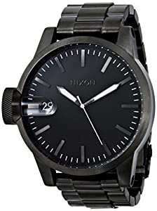 Nixon Men's CHRONICLE SS A198-632 Grey Stainless-Steel Swiss Quartz Watch with Black Dial