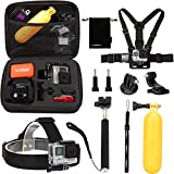 Luxebell 10 in 1 Value Pack Accessories Kit for Gopro Hd Hero4,hero3+,hero3,hero2 & Hero Camera,Head Strap Mount + Chest Harness Belt Mount + Floating Grip + Extendable Handheld Monopod + Medium ShockProof Carry Case