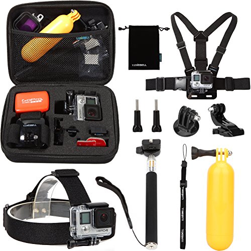 Luxebell 10 in 1 Value Pack Accessories Kit for Gopro ShockProof Carry Case