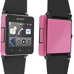 Skinomi® TechSkin - Sony SmartWatch 2 Screen Protector + Carbon Fiber Pink Full Body Skin Protector / Front & Back HD Clear Film / Ultra Invisible & Anti Bubble Shield w/ Free Lifetime Replacement