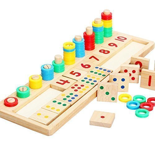 Baby Early Educational Toys Montessori Materials Gift Wood Math Blocks Shape Sorter Knob Puzzle Learning (17.32 X 5.51 X 0.59 Inch) - 1