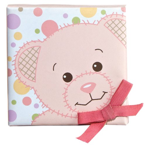 Aurora Baby Bear Canvas Wall Art, Pink