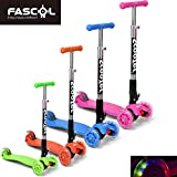 FASCOL� Twist & Roll Patinete scooter plegable para ni�os con 3 ruedas y PU LED flash ruedas,mini patinetes freestyle scooter in Rosa(2-17 a�os)