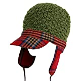 Red Plaid Trim Green Crochet Trooper Hat
