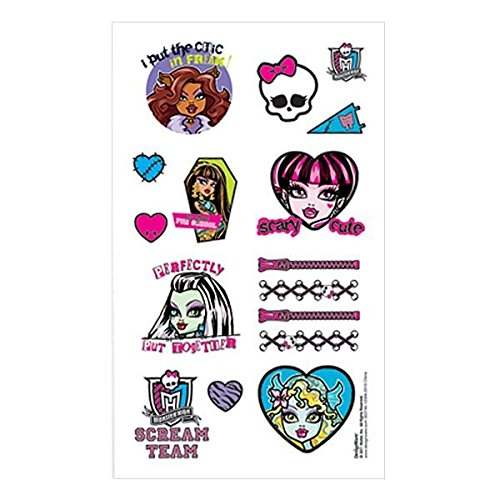 Amscan Freaky Fab Monster High Party Favor Temporary Tattoo (1 Piece), Multi, 2 x 1 3/4""