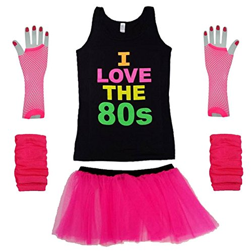Instant I Love the 80s Vest Top Costume Kit with Skirt. Fingerless Fishnet Gloves, Leg Warmers - Sizes 8-16