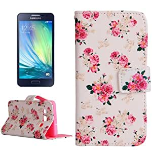 Crazy4Gadget Flower Pattern Horizontal Flip Leather Case with Holder & Card Slots & Wallet for Samsung Galaxy A5 / A500F