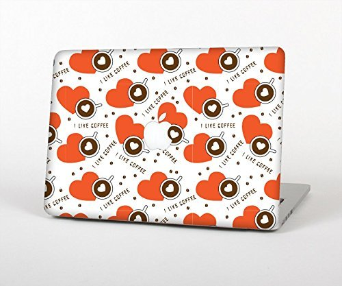 """The Vector Red Hearts With Coffee Mugs Top Lid And Inside Keyboard Skin Set For The Apple Macbook Pro 15"""" (Without Retina Display)"""