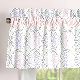 Carousel Designs Pink Modern Floral Window Valance Rod Pocket