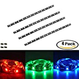 eTopxizu 4 PCS 5050 RGB LED Strip Lights,Led Diy Kit 5050 RGB Pre-Cut Multicolor Accent LED Home Theater TV Back light With 4 Pin Connectors