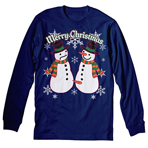 Snowman Pecker Funny Holiday Ugly Christmas Sweater - Long Sleeve T-Shirt Navy