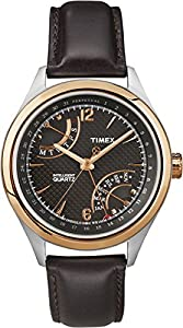 Timex men's quartz Watch with black Dial analogue Display and brown leather Strap T2N814