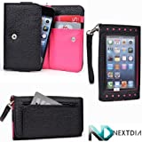Smartphone Wallet for Samsung Galaxy Pop Plus S5570i with Exposed Screen to View Alerts Black and Hot Pink Magenta... by Kroo