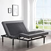 Classic Brands Adjustable Comfort Upholstered Adjustable Bed Base with Massage, Wireless Remote, Three Leg Heights, and USB Ports-Ergonomic Queen