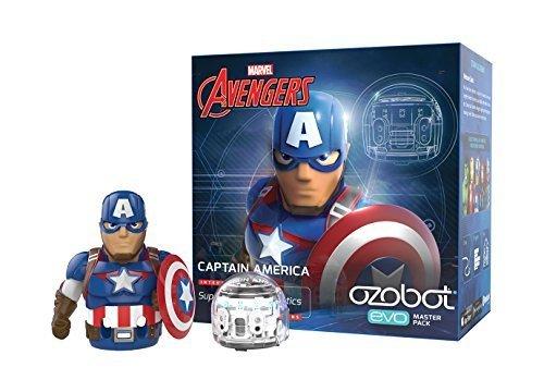 코딩 로봇 오조봇(Ozobot) EVO 캡틴 아메리카 / 아이언 맨 - 2종 Ozobot Evo App-Connected Coding Robot, Captain America (White)