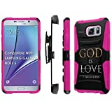 SAMSUNG GALAXY NOTE 5 Case, [NakedShield] [Black/Hot Pink] Heavy Duty Holster Armor Tough Case + [Screen Protector] - [God is Love] for SAMSUNG GALAXY NOTE 5