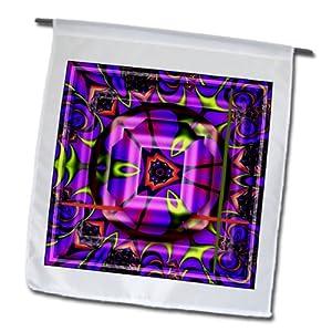 3dRose fl_26773_1 Mandala Zen Inner Balance Harmony Blue/Green/Pink Peace Energy Glowing Chakra Meditation New Age Garden Flag, 12 by 18-Inch