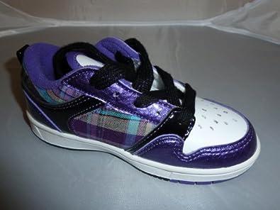 girls pastry trainers purple tartan size 8