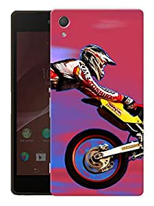 "Motocross And Motorcycles Love - Red Printed Designer Mobile Back Cover For ""Sony Xperia Z3"" (3D, Matte, Premium Quality Snap On Case)"