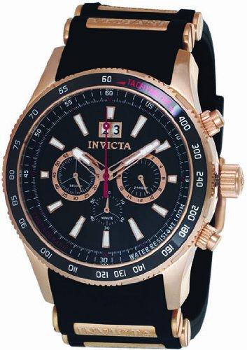 Invicta Flight Black Dial Rose Gold-tone Chronograph Mens Watch 1238
