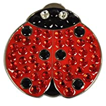 Crystal Golf Ball Marker & Hat/ Visor Clip - Lady Luck (Lady Bug)