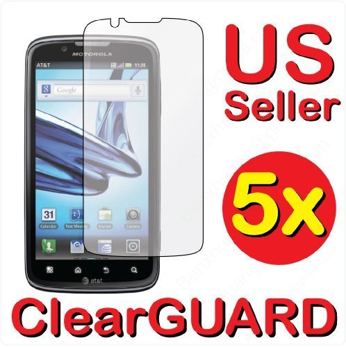 5x Motorola Atrix 2 MB865 Premium Invisible Clear LCD Screen Protector Cover Guard Shield Protective Film Kit (5 pieces)
