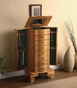 Deluxe jewelry armoire in light oak finish wood