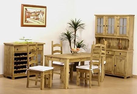 Tisch 150x73 + 4x Stuhl Mexiko Pinie massiv Farbton Brasil