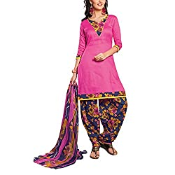 Destiny Enterprise Cotton Unstitched Pink and Blue Color Patiyala Suit Dress Material for Women