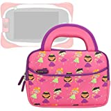 Evecase Neoprene Sleeve Protective Case Compatible with Nabi Jr. , Cute Princess Themed Neoprene Travel Carrying Slim Sleeve Case Bag w/ Dual Handle and Accessory Pocket - Pink w/ Purple Trim