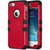 iPhone 5S Case, ULAK 3 in 1 Shield Case for iPhone 5s 5 Fashion Wave Pattern Hybrid High Impact Soft TPU + Hard PC Case Cover for Apple iPhone 5S 5 (3in1-Red + Black)